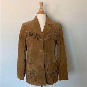 VINTAGE 70's STUNNING Fringe Leather Blazer Jacket